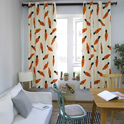 GZ-curtain Vorhänge - Karotte Druckvorhänge - nordische minimalistische Wohnzimmer Schlafzimmer Vorhänge 140 * 215 Zoll cm kann angepasst Werden