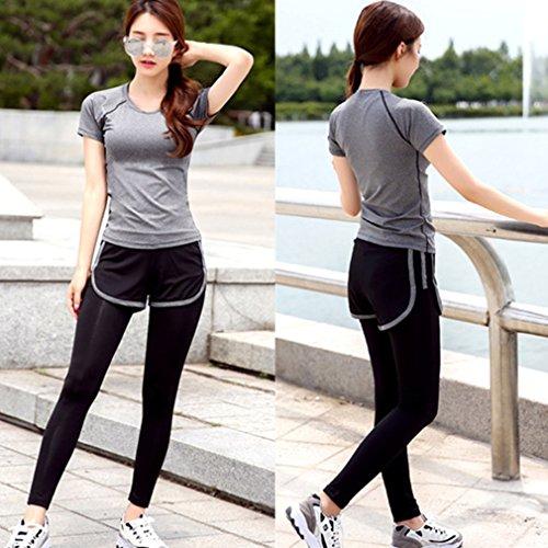 REALLION Femmes 2 Pièces Ensembles de Yoga (T-shirt à manches courtes + Pantalon ) Sportswear à respirant, Hygroscopique et à Séchage Rapide Gris