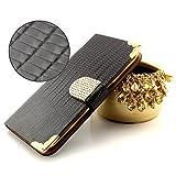 ScorpioCover Book Style Handy Glitzer Tasche mit Kartenfach Bling Design für Samsung Galaxy S7 Schutz Hülle Flip Cover Case mit Magnet Verschluss Klapp Tasche Croco Look schwarz/Gold
