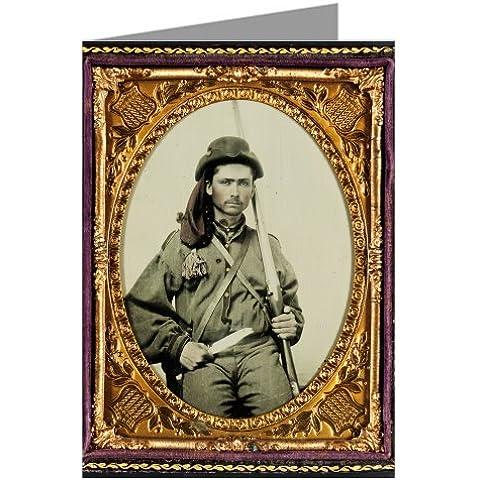 Sei vendemmia, biglietti di auguri di Confederate soldato in uniforme con fucile fanteria e coltello Bowie in la guerra civile. - Civile Coltello Guerra
