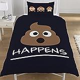Emoji-SH * T Happens Zeichen Affe Bettwäsche Bettwäscheset, Bettbezug Einzelbett/Doppelbett, Black Mr Poo - Emoji, Einzelbett