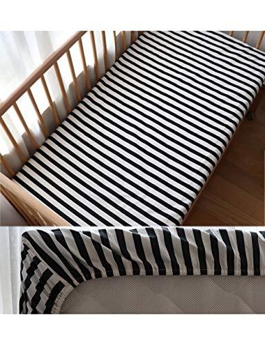 HAZUQU Bettlaken Baby Spannbetttuch Für Neugeborene Baumwolle Weiche Krippe Bettlaken Für Kinder Matratzenbezug Protector 130X70 cm, Schwarz Streifen,