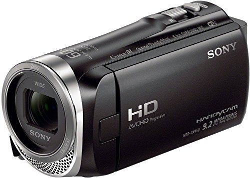 Sony HDR-CX450 Full HD Camcorder (26,8mm Weitwinkel Carl Zeiss Vario-Tessar Objektiv, 30x Zoom, EXMOR R CMOS-Sensor, Optical SteadyShot, 5-Achsen-Bildstabilisierung, intelligenter Autofokus) schwarz (Handycam Sony Camera Video)