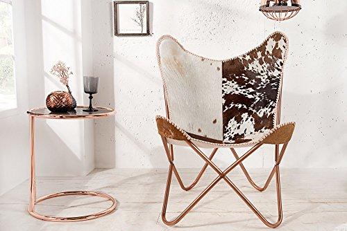 Echtfell Sessel BUTTERFLY Kuhfell Braun Weiß Kupfergestell Stuhl Echtes  Fell Kupfer Lounge Esszimmer Klappstuhl Loungesessel Liegestuhl U2013  Smash G8.de
