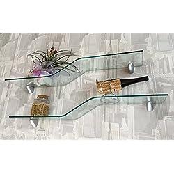 VE.CA-ITALY 1 Mensola in vetro curvato e temperato inclusi supporti viti e tasselli
