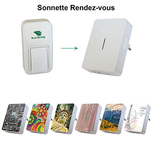 EcoDring Sonnette sans Pile sans Fil personalisable - Rendez-Vous RXTX - Garantie 3 Ans - jusqu'à 140m