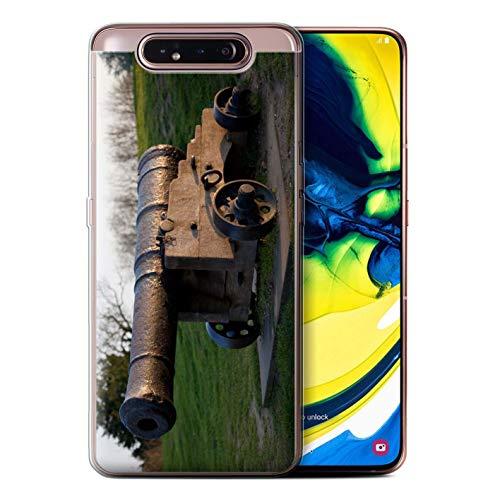 eSwish Gel TPU Hülle/Case für Samsung Galaxy A80/A90 2019 / Alte Kanone Muster/Britischen Küste Kollektion (Cannon Kamera Und Drucker)