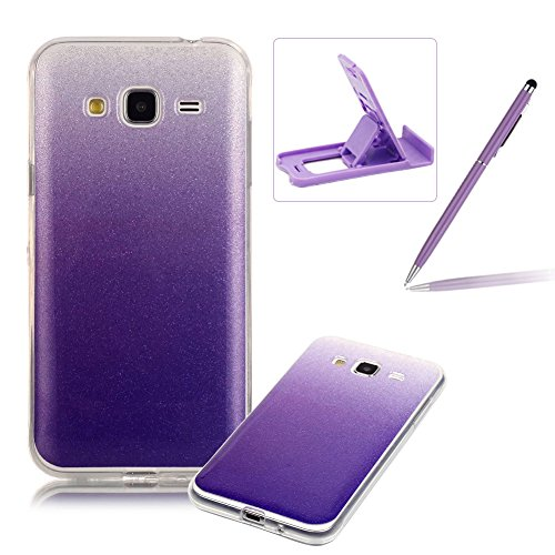 Galleria fotografica per Samsung Galaxy J3 / J3 (2016) Custodia case,Herzzer Mode Crystal per Samsung Galaxy J3 / J3 (2016) Creativo Transition Color cover,lusso di Glitter Bling Gradiente Color Viola,Unico Molto sottile Modeling Snella morbido TPU Silicone Gel flessibile Anti Slip di Bumper caso per Samsung Galaxy J3 / J3 (2016) + 1 x Gratuito Basamento Telefono Viola Regolabile + 1 x Gratuito Pennino Viola