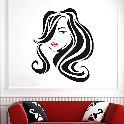 Großes Haar Schönheitssalon Lippen Wandtattoo Friseur Frisur Frisur Barbiere Dame Wand Fenster Aufkleber Vinyl Shop Decor 57 * 68 cm