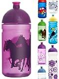 ISYbeTrinkflasche 500ml Pferde, lila-transparent, schadstofffrei, spülmaschinengeeignet, auslaufsicher
