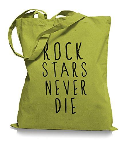 Kiwi Baumwolle Rock (Ma2ca® Rock n Roll Never Die - Jutebeutel Stoffbeutel Tragetasche / Bag WM101-kiwi)