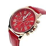 Tonsee 11 Farben 2015 neue Fashion Damen Uhren in römische Ziffern Faux Leder Analog Quarz Frauen Männer lässig Relogio Stunden Armbanduhr (rot)