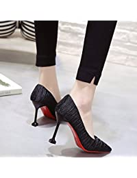 GAOLIM Chaussures Femmes Talon Haut Girl Bien avec 8Cm Conseils Simples Seul Ses Chaussures Light-Princesse De La Haute-Chaussures De Talon (5-8Cm),35, Noir