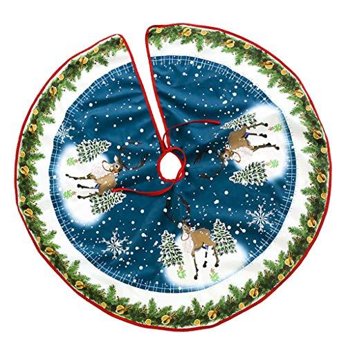 SM SunniMix Filz Weihnachtsbaum Decken Christmas Baum Rock Tannenbaum Teppich, Haltbar und Stark - Blauer Elch