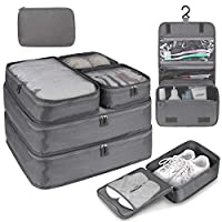 8 PC Packing Cube Travel Luggage Organiser Bag for Suitcase Lightweight Travel Essential Bag with Large Toiletries Bag for Clothes Shoes Cosmetics Toiletries Electronics Accessories