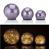 Online-Fuchs 3er Set Glaskugeln mit LED Lichterkette inkl. Timer - in und Outdoor Geeignet - Deko Kugeln in Bruchglasoptik - LED Beleuchtung (Lila)