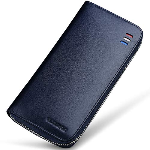 DZX Lange Zipper Wallet Herren Leder Multi-Card Large Capacity Kleine Handtasche Herren Leder Clip,Blue (Billig Kupplung Brieftasche)