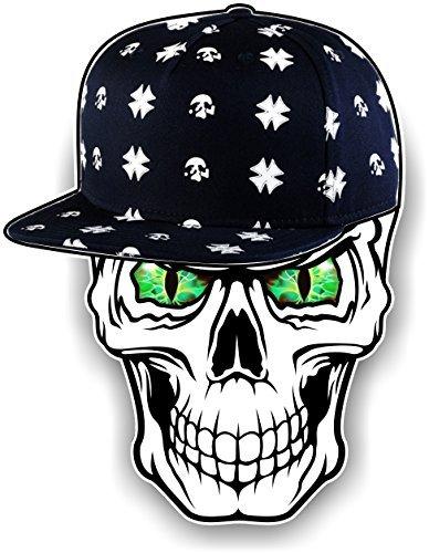 Gothic Totenkopf design tragen Hipster Hip Hop Rapper Kappe mit grünem Bösartig Augen Motiv Für Biker Skate-vorstand Vinyl Autosticker Aufkleber 100x78mm by CTD Vorstand Wasser