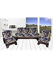 Luxury Crafts 5 Seater Cotton Fabric Sofa Cover (Pack of 6 Pcs) (Blue)