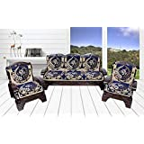 Luxury Crafts 5 Seater Cotton Fabric Sofa Cover (Pack of 6 Pcs) Blue.