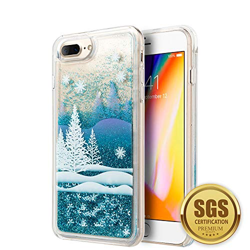 3D Winter Sparkle Glitter Waterfall Phone Case for Apple iPhone 7 Plus / 8 Plus - Interactive Water Liquid Cascade Floating Snow Globe Dynamic Transparent Smartphone Cover w/Snowflakes & Trees -
