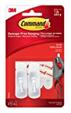 3M Command Utility Hook 2 White Hooks and 4 Strips, Acrylic, Multicoloured, 3-Piece
