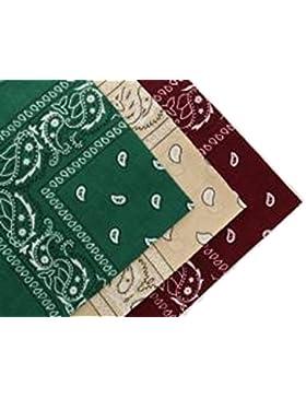 Flissy - Juego de 3 pañuelos (algodón), diseño de cachemira, color verde oscuro, rojo y beige
