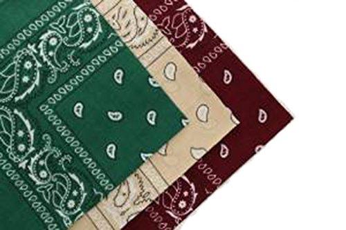 Set de 3 bandanas en coton cachemire vert foncé, rouge cerise et beige