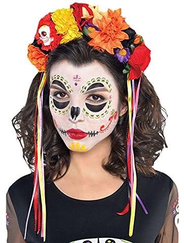 erdbeerclown - Kostüm Karneval Haarreif Day of the Dead Sugar Skull, Mehrfarbig