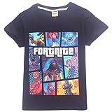 SERAPHY Kurzarm Baumwolle T-Shirt Fortnite T-Shirts Kinder Wunderbare Geschenke für Jungen 91-Schwarz 150