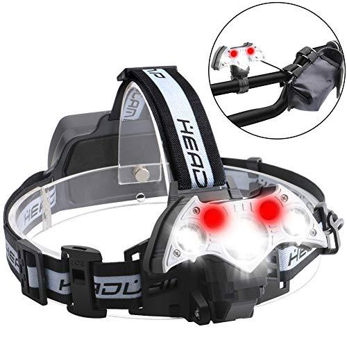 Lightsjoy LED Stirnlampe Kopflampe Rotlicht 8000LM 5 LED 6 Modi IPX4 Wasserdicht,USB Wiederaufladbare 90 °Winkel Einstelllbare Eingebauter Akku 18650 mit Warnleuchte für Retten/Camping/Angeln/Klettern