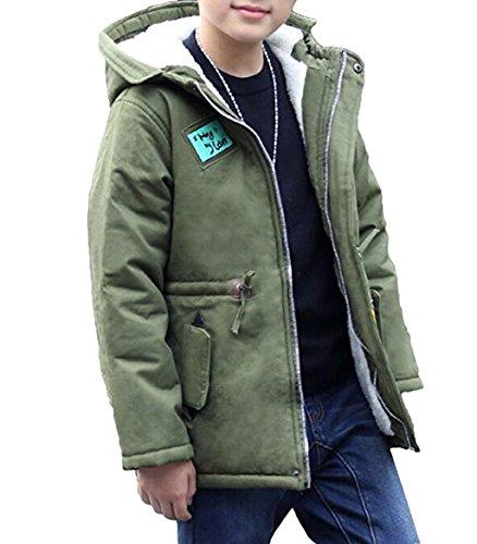 Winterjacke Kinder Jungen Lange Winterjacke mit kapuze Wintermantel Mantel Parka Outerwear Oberbekleidung (Grün, (Höhe110CM-116CM) Etikett 120)