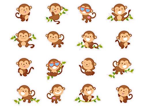 1 x Aufkleber Affen Sticker Set Affe Monkey Kinderaufkleber Geschenk Zoo Fun Gag - Womens Affe