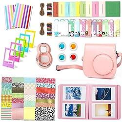 Leebotree 10 en 1. Accessoires pour Appareil Photo Instax Mini 9, Mini 8/8+, Le Package Comprend étui,Album, lentille, filtres, Cadres, Stylo et Autres (Rose Clair)