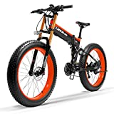 LANKELEISI T750Plus elektrisches Mountainbike, 5-Stufen-Pedal-Assist-Sensor, Snow Bike, leistungsstarker Motor, 48V 14.5Ah Li-Ion-Akku, Upgraded zu Downhill-Gabel (Schwarz Rot, 500W Standard)
