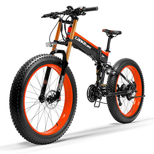 LANKELEISI T750Plus 27 Speed 1000W Bici elettrica Pieghevole 26 * 4.0 Fat Bike 5 PAS Disco Idraulico Freno 48V 10Ah Batteria al Litio Rimovibile(Nero Rosso, 1000W UP + 1 Batteria Ricambio)