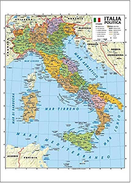 Cartina Geografica Italiana Con Regioni.Carta Geografica Murale Italia 100x140 Bifacciale Fisica E Politica Amazon It Cancelleria E Prodotti Per Ufficio