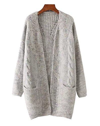 COCO clothing Donne Maglione Cardigan Lungo Maglia Cappotto Anteriore Aperto con Tasca Casual ed Moda Tops Grigio