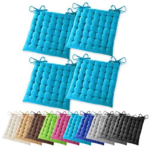 4er Set Gräfenstayn Sitzkissen Stuhlkissen 40x40x5cm für drinnen und draußen aus 100% Baumwolle – in verschiedenen Farben – Steppkissen / Bodenkissen (Türkis)