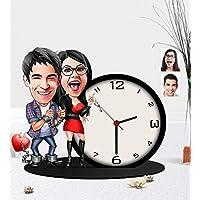 Kişiye Özel Sevgililer Karikatürlü Ahşap Biblo Masa Saati-1