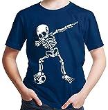 HARIZ Jungen T-Shirt Dab Skelett mit Fussball Dab Dabbing Dance Halloween Plus Geschenkkarten Navy Blau 140/9-11 Jahre