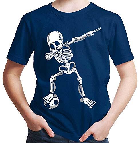 HARIZ  Jungen T-Shirt Dab Skelett mit Fussball Dab Dabbing Dance Halloween Plus Geschenkkarten Navy Blau 98/2-3 Jahre