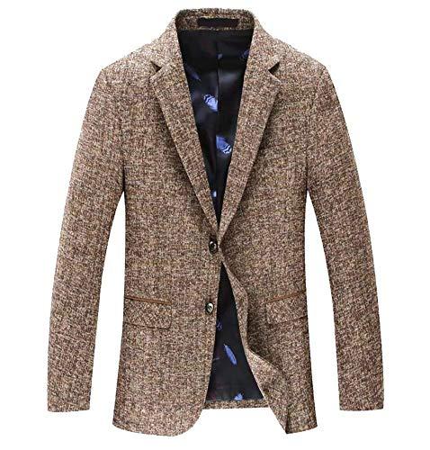 Blazer da uomo blazer cappotto di lana tailleur giacca taglie comode corta da uomo giacca classica da uomo casual slim fit tweed abiti (color : kamel, size : xl)