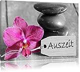 Orchidee mit Zen Steinen schwarz/weiß Format: 60x40 auf Leinwand, XXL riesige Bilder fertig gerahmt mit Keilrahmen, Kunstdruck auf Wandbild mit Rahmen, günstiger als Gemälde oder Ölbild, kein Poster oder Plakat