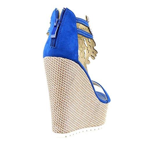 Angkorly Damen Schuhe Sandalen - T-Spange - Plateauschuhe - Schmuck - Bestickt Keilabsatz High Heel 13 cm Blau