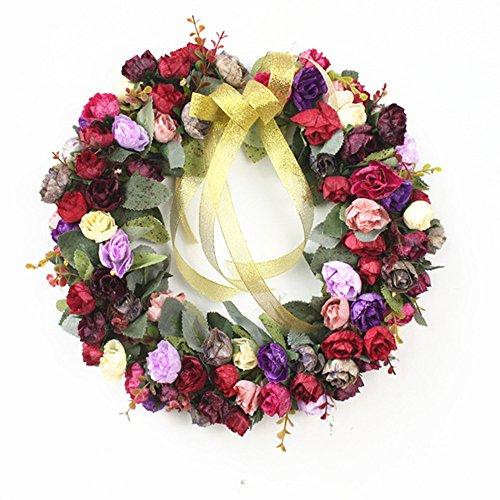 Florist Brand 35,6cm Rose Kranz, Vorne Tür Kränzen Seide Kranz/Künstliche Rose Blumen Garland für Home Wand-Hochzeit Dekoration Style Wind Red - Flower Red Garland
