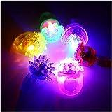 Acefun 24 Stück LED Blinkende Jelly Ringe, Leuchtendes Spielzeug, Finger Ringe mit verschiedenfarbigem Licht, Party Mitgebsel