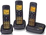 DCT59073 Kit Telefoni Cordless 3 Telefoni Senza Fili Tris Trio con Segreteria Telefonica 25 Minuti Vivavoce Tasti e Display Retroilluminati Funzione Intercomm Conferenza a 3 Tasti Chiamata Diretta