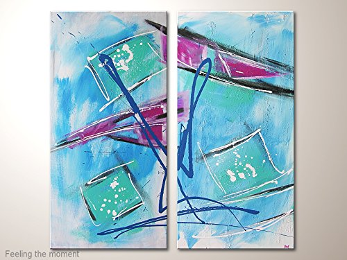 Original Künstler Acrylmalerei Zweiteilig mit u.a Blau/Türkis:Feeling the moment Gemälde abstrakt gemalt (Original-gemälde Blaue)