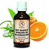 Orangenöl, 100 % reines ätherisches Orangenöl 100ml - Brasilien -Orangen Öl für guten Schlaf - Beauty - Baden - Körperpflege - Wellness - Schönheit - Kosmetik - Aromatherapie - Entspannung - Massage - SPA - Raumduft - Duftlampe, Glasflasche, Orangenöl Ätherisch von AROMATIKA
